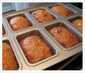 Freshly baked mini banana loaves