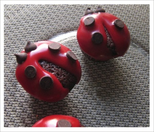 Ladybug Chocolate Cherry Cupcakes