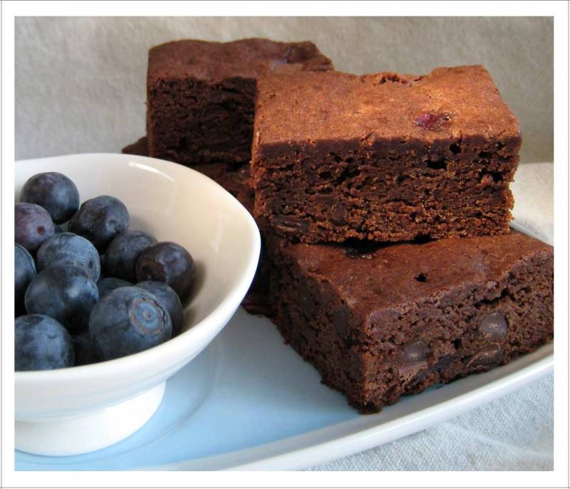 Double Chocolate Blueberry Brownies