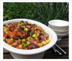 Toasted Corn Black Bean Tomato Salad