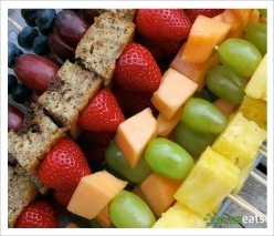 Whole Wheat Banana Flax Baked Pancakes on fresh fruit skewers