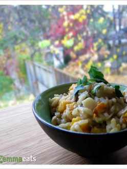 Risotto with Roasted Butternut Squash, Pancetta and Mushrooms