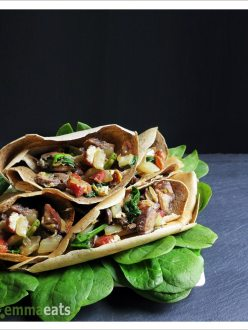 Buckwheat Crepes w Pancetta, Mushrooms and Spinach | EmmaEats
