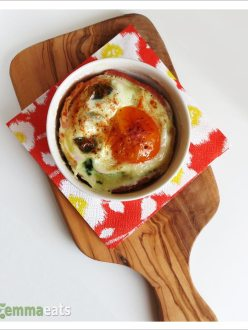 Baked Eggs with Cheese Bacon & Spinach | EmmaEats