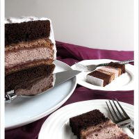 Chocolate and Raspberry Cake with Fluffy Marshmallow Frosting [Dairy-free]
