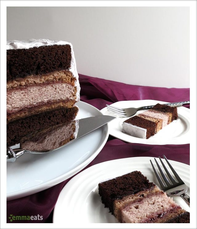 Chocolate and Raspberry Cake with Fluffy Marshmallow Frosting | EmmaEats