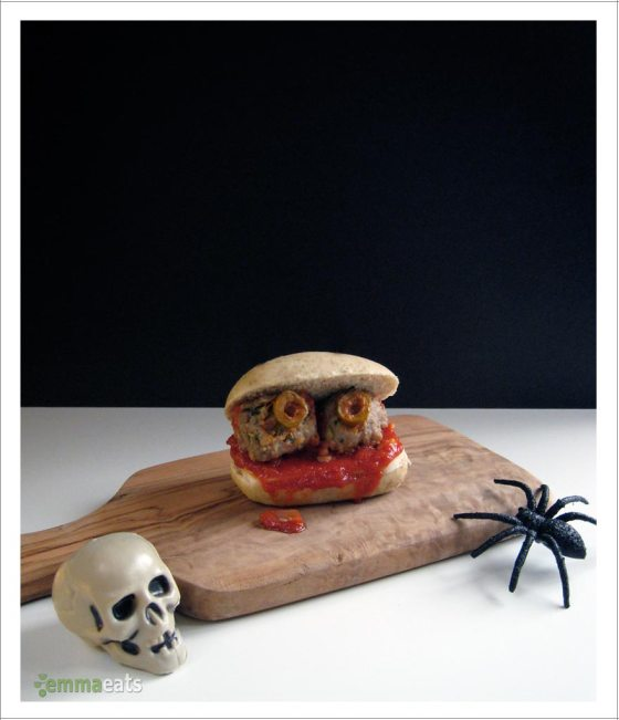 Spooky Mini Turkey Meatball Sliders | EmmaEats
