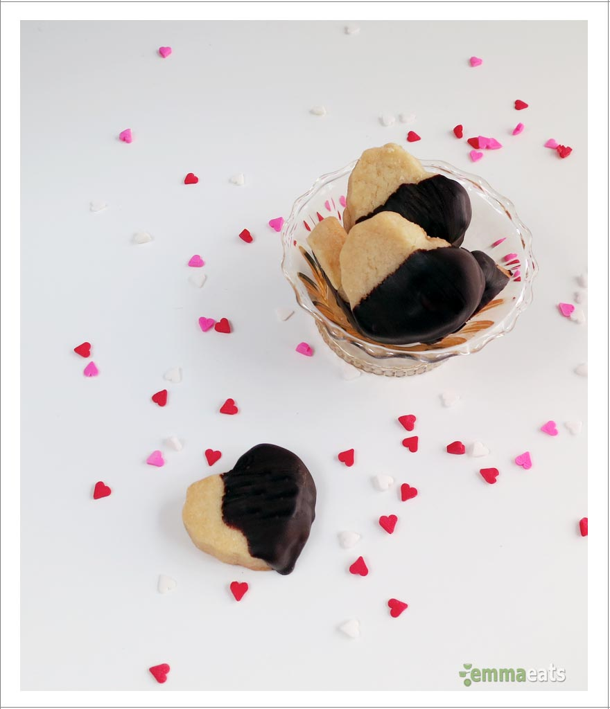 Chocolate-dipped Classic Shortbread Hearts | EmmaEats…and Katie too!