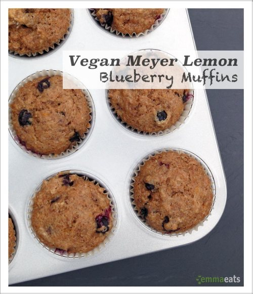 Vegan MeyerLemon Blueberry Muffins | EmmaEats